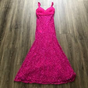 Hot pink prom gown fully sequined bottom